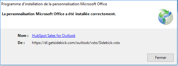 validation_installation_hubspot_outlook